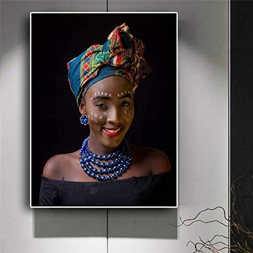 Zwarte naakte vrouw ketting Afrikaanse canvas poster en Scandinavische stijl wall art foto van woonkamer frameloze schilderij 30x40cm
