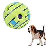 shihui Dog Giggle Ball Toy Interactive Dog Favorite Toys Upgraded Wobble Wag Woopy Ball Make Noise Fun Giggly Sounds Play Training Safe Wab Squeaky Gift for Doggy Wiggle Giggling Green Pet Toy