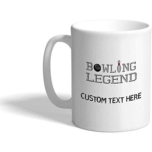 Taza de café personalizada 330 ml Bowling Legend Sports Taza de té de cerámica Texto personalizado