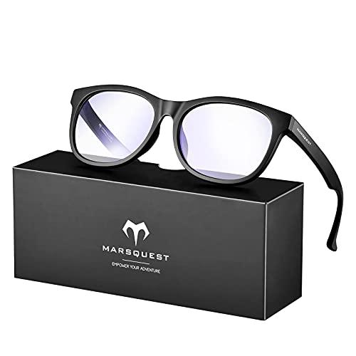 MARSQUEST ブルーライトカット メガネ pcメガネ パソコン用メガネ 伊達メガネ 42%ブルーライトカット 99%UVカット 90%有害光カット 紫外線カット アンチグレア 超軽量 男女兼用 スマホ・パソコンメガネ ブルーライト対策 ビジネス向き ギフト プレゼント ゲーム用メガネ 反射防止眼鏡 収納袋付き (CM-B1)
