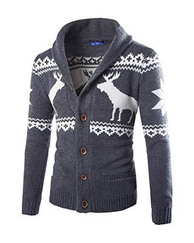 BoBoLily-8 Maglione di Natale Uomo Autunno Inverno Manica Lunga Cardigan Sweat Jacket Manica Lunga Pullover Renna Maglia Maglione Cappotto A Maglia