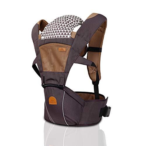 TRI Ergonomische 6 in 1 Premium Babytrage aus 100% Baumwolle für Babys ab 4 Monate von 4-20kg, die perfekte Babytragetasche, Tragegurt Baby, Kindertrage für Eltern (braun)