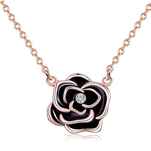LOHOTEK Rosa Negra Collar, Collar Elegante de Rosa Negra con Cristales para Mujer, Empaque para Regal