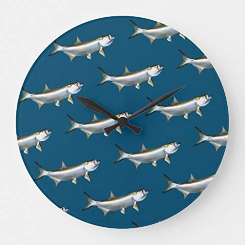 Scott397House Tarpon Fishing Theme Man Cave Large Wall Clocks for Office Wooden Clock Non Ticking Silent Wood Decorative for Living Room Modern 12 inch
