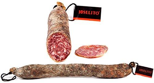 Salchichón Joselito 100{e0cf04913c9054ef7bac8078c1f393c55b4d5a3f5d6917954d532641b1fa73c8} Natural - Sin conservantes ni aditivos, Botella de Vino Cune 3/8 y Cuchillo Jamonero.