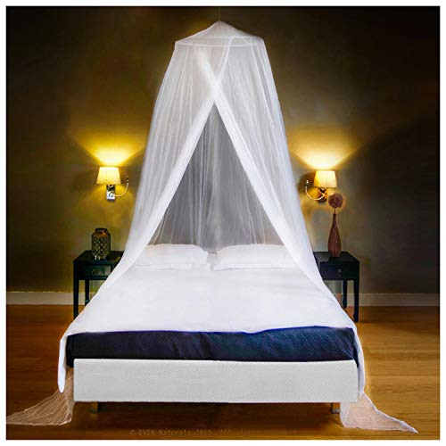 EVEN NATURALS Luxury Mosquito Net Bed Canopy, Large: for Single to Queen Size, Quick Easy Installation, Finest Holes: Mesh 300, Curtain Netting with Entry, Storage Bag, No Chemicals Added