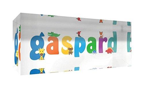 Little Helper Souvenir Décoratif en Acrylique Transparent Poli comme Diamant Style Illustratif Coloré avec le Nom de Jeune Garçon Gaspard 5 x 15 x 2 cm Petit