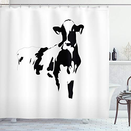 Ambesonne Farmhouse Decor Collection, Silhouette Portrait of a Big Cow Meat Milk Farm Animals Agriculture Themed Image, Polyester Fabric Bathroom Shower Curtain, 75 Inches Long, Black and White