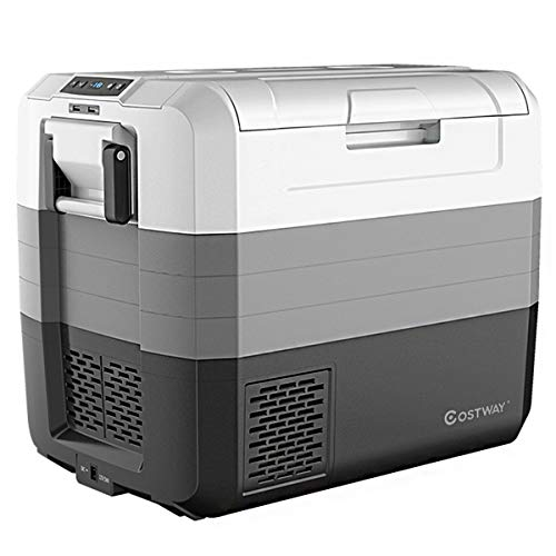 COSTWAY Portable Car Refrigerator, -14.8°F to 50°F, 70-Quart Compressor Travel Fridge with Two-Way...