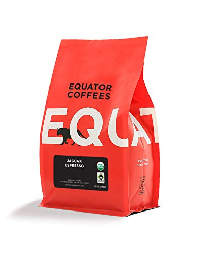Equator Coffees & Teas Jaguar Espresso, Roasted, Whole Bean Coffee, Fair Trade & Organic, 12 Ounce bag