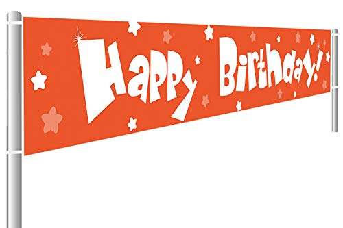 Large Orange Happy Birthday Banner, Kid's Birthday Party Supplies Decorations, Birthday Party Photography Backdrop, Indoor Outdoor Decoration (9.8 x 1.6 ft)