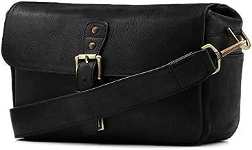MegaGear Genuine Leather Camera Messenger Bag for Mirrorless, Instant and DSLR, Black (MG1331)