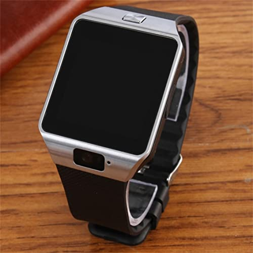 MeterBew1147 Dz09 Smartwatch Pantalla táctil Inteligente Digital Sport Smart Watch Podómetro Reloj de Pulsera Hombres Mujeres Reloj-Plata Negro