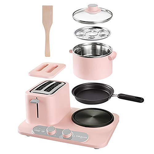 Automatische Brotmaschine Haushalt Edelstahl multifunktionale Smart Brotmaschine Antihaft-Pfanne leicht zu reinigen Brotmaschine Toast und Omelett-Pink