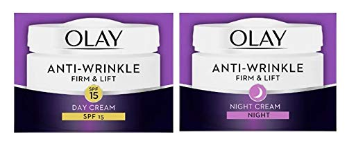 Olay Anti-Wrinkle Firm & Lift Day Face Cream SPF15 and Night Cream 50ml (Bundle set)