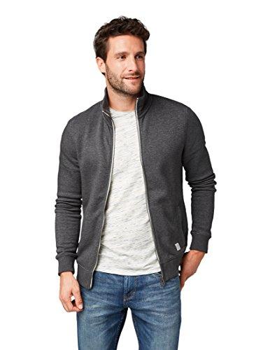 TOM TAILOR Herren Basic Sweatjacke mit Stehkragen Sweatshirt, Grau (Black Grey Melange 2572), Medium
