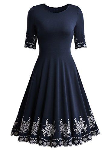 Miusol Abendkleid Sommerkleid Kurz Vintage Rockabilly Cocktail Ballkleid Blau - 6