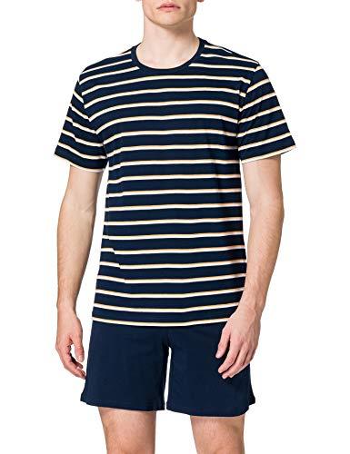 Schiesser Herren Schlafanzug Kurz Pyjamaset, Blau, 54 /XL