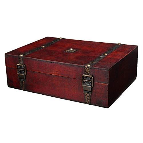 Organizador multifuncional de escritorio, joyero, caja de almacenamiento de escritorio, caja de regalo de madera de joyas antiguas para los objetos escolares, artículos vivos y suministros de oficina.