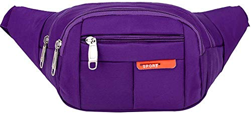 Sports Waist Packs Fanny Bag, Multiple Functions Hip Bum Chest Belly Back Bags with Adjustable Belt Strap for Men, Women Fit for Outdoor Events Like Hiking, Cycling, Running (Purple)