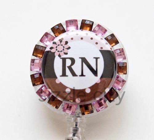 Pokodot Pink Brown RN Logo Nurse Rhinestone Retractable Badge Reel/ID Badge Holder