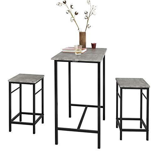 SoBuy OGT10-HG Bartisch Set 3-teilig Bistrotisch mit 2 Stühlen Esstisch Sitzgruppe grau