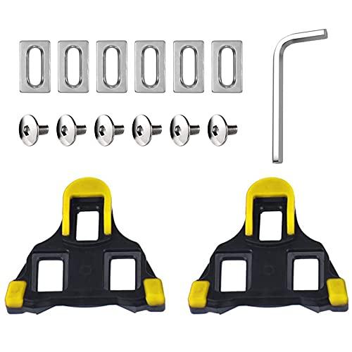 AMIJOUX Juego de tacos de ciclismo para interiores, juego de tacos de bicicleta de carretera y ciclismo para ciclismo, compatible con SPD-SL SM-SH11 (flotador de 6 grados) para principiantes