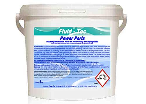 Fluid-Tec 5kg Power Perls Geschirr Reiniger Pulver Geschirrspülpulver Spülmaschinenpulver mit Sofortwirkung für Kurzprogramme, Wirkung schon ab 25 Grad Wassertemperatur für ca. 250 Spülvorgänge