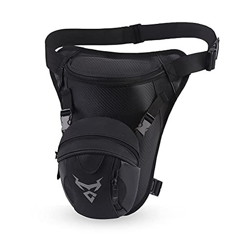 Eshow Bolsa de Pierna y Cintura para Hombres, Riñonera Multifuncional Adecuada para Herramientas de Trabajo, Motocicletas, Montañismo, Ciclismo y Senderismo