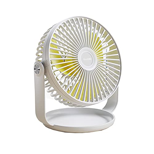 GADHNN Pequeño Mini Ventilador Eléctrico, USB Silencioso, Escritorio, Hermoso Y Práctico, Plástico, Portátil, Adecuado para Dormitorio, Estudio, Al Aire Libre, Hermoso (Color : White)