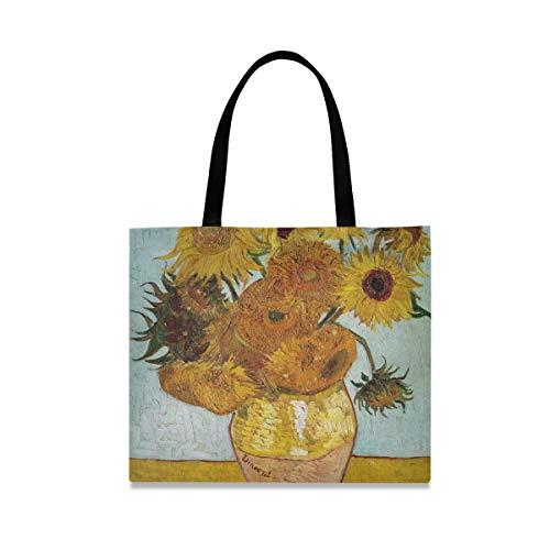 XiangHeFu Casual Art vaas zonnebloem herbruikbare mode boodschappentas grote capaciteit outdoor handtas