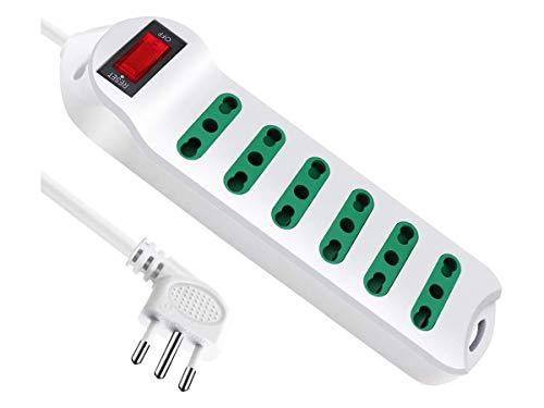Multipresa Ciabatta Elettrica Cavo Con 6 Posti Prese Bipasso 10/16A 2P+T Interruttore Spina 10A Laterale