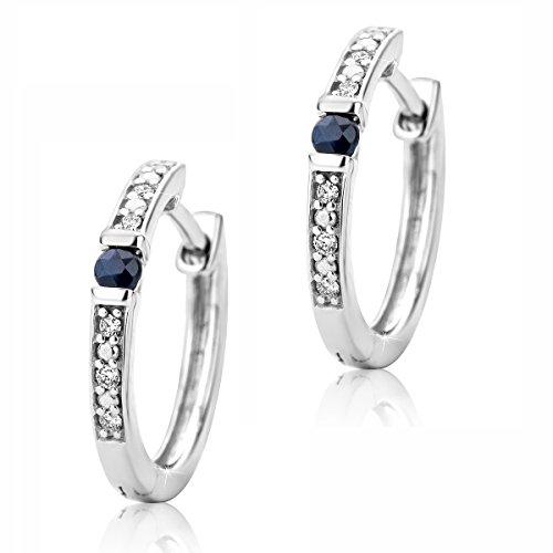 Orovi Damen Diamant Gold Creolen Ohrringe Weißgold mit blau Saphir Ohrringe 9 Karat (375) Ohr-Schmuck Brillianten 0.05ct