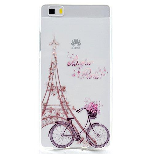 YYhin Custodia per Cover Huawei Ascend P8 Lite / P8 Mini(5.0'), Copertura Protettiva Trasparente, Custodia Antiurto Paraurti Silicone TPU Case Cover #MM07/Bicicletta a Torre