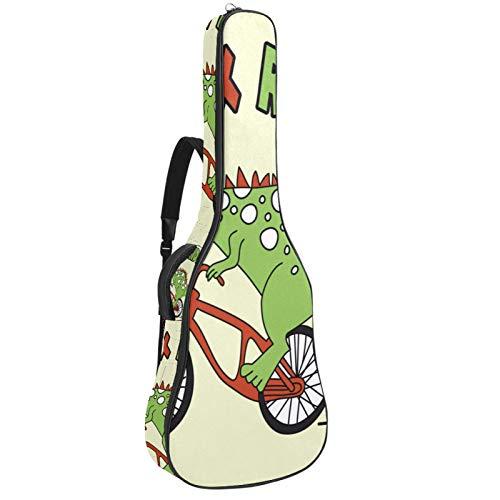 Bennigiry TRex Rider - Bolsa para guitarra acústica con dinosaurio, funda de transporte para guitarrista
