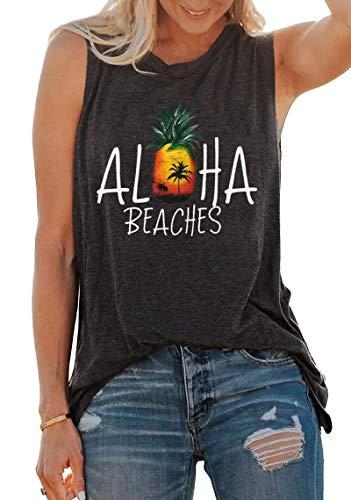 Aloha Beaches Letter Tank Top Women Pineapple Print Sleeveless T Shirt Cute Vest Summer Beach Casual Tee Shirt Gray