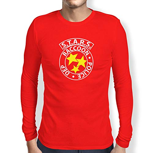 Texlab Herren RE: S.T.A.R.S. Logo Langarm T-Shirt, Rot, S