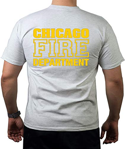 T Shirt Ash, Chicago Fire Dept., dunkelgelbes emblema e scritta, grigio, M