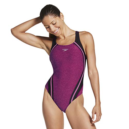 Speedo Women's One Piece Swimsuit-Quantum High Cut, Removable Cups, Raspberry Radia, 4