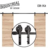 13-Foot Heavy Duty Double Sliding Barn Door Hardware Kit (Black) Includes Easy Step-by-Step Installation Video Ultra Quiet, Tested Beyond 100,000 Rolls Superior Quality
