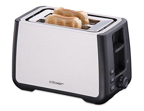 Cloer 3569 King-Size-Toaster für 2 XXL Scheiben/Check-Funktion/Edelstahlgehäuse / 1000 Watt/schwarz Kunststoff