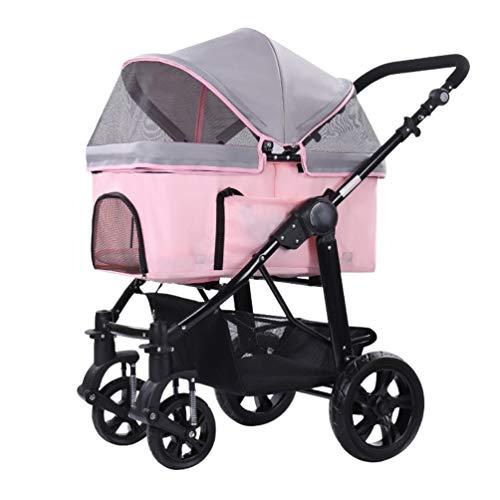 Kinderwagen voor honden met 4 wielen, regenafdekking, kinderwagen, opbergen, mand voor huisdieren, kruiwagen, inklapbaar, 25 kg