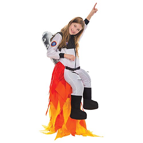 Kids Flying Astronaut Suit Halloween Dress Up Roleplay Costume with Flame Pants and Jet Pack (8-10 Years)
