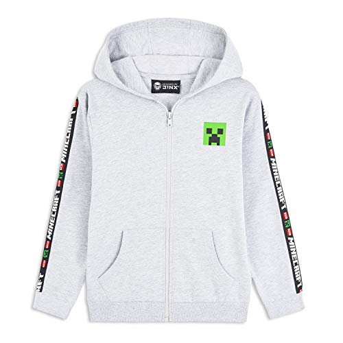 Minecraft Hoodie Kinder, Pullover Creeper Design für Jungen und Teenager, Gamer Coole Pullover, Originale Sweatshirt, Geschenke für Kinder Gamers Jugend (Grau, 9-10 Jahre)