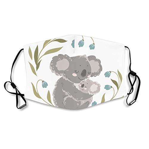 Youturnnow Koala Mutter Kind Mundschutz mit Ohrschlaufen Waschbar Wiederverwendbar Staubschutz für Staub White OneSize
