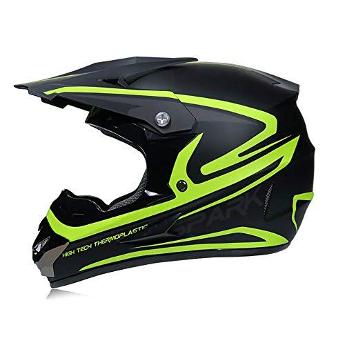 LWAJ BMX ATV Casco de Moto, Casco de Motociclista Descenso para Adultos, Casco de Motocross Hombre y Mujer, Guantes, Máscara Y Gafas (Juego de 4) Casco Cara Completa Aprobación Dot