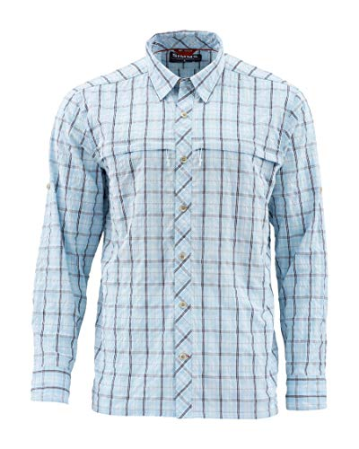 Simms Stone Cold Shirt, UPF 30 Quick Dry Long Sleeve, Mist Admiral Blue Plaid S