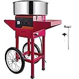 VEVOR Máquina de Algodón de Azúcar 220V Rojo Algodonera de Azúcar Cotton Candy Machine Máquina Profesional para Hacer Nubes de Azúcar con Carrito
