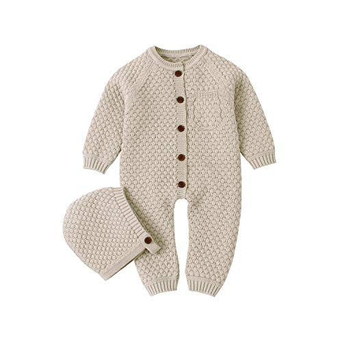 mimixiong Baby Newborn Knitted Sweater Romper Longsleeve Outfit Cotton Jumpsuit with Warm Hat Set Camel 80
