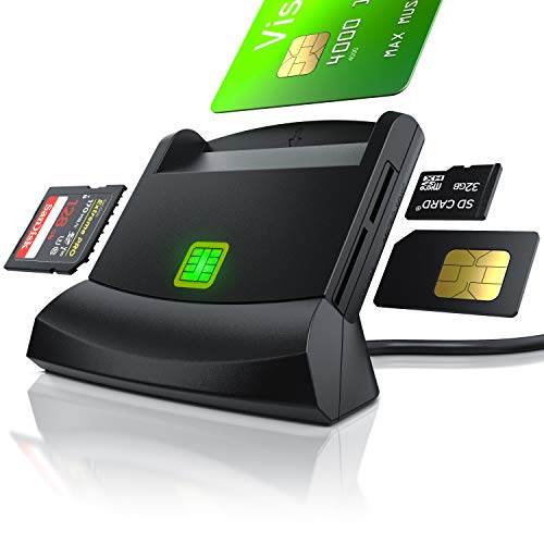 CSL - USB Chipkartenleser - SmartCard Reader - Cardreader - smart Card Reader - unterstützt Smart Cards und SIM Cards, Sdcard, Micro Sd - schwarz